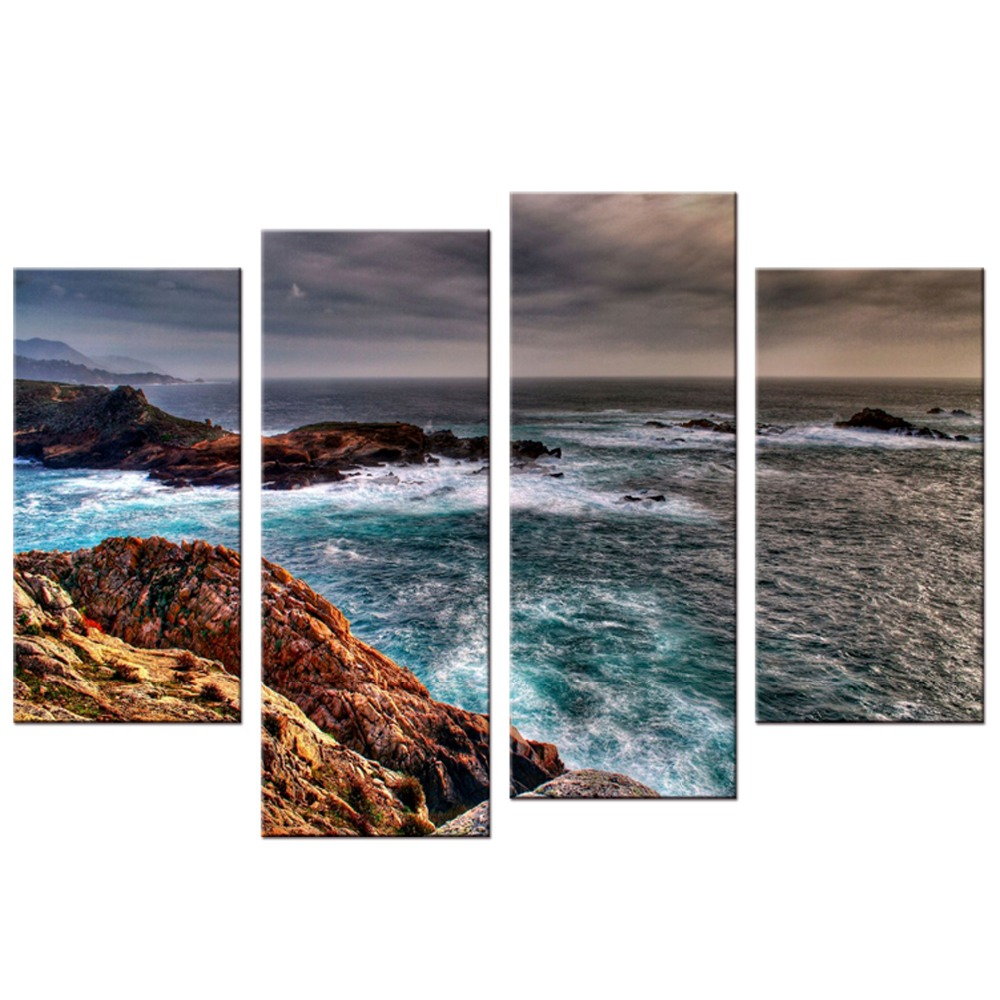 4 Pcs/Set Modern Seascape Painting Canvas Art HD Sea Landscape Wall Picture For <font><b>Bed</b></font> Room