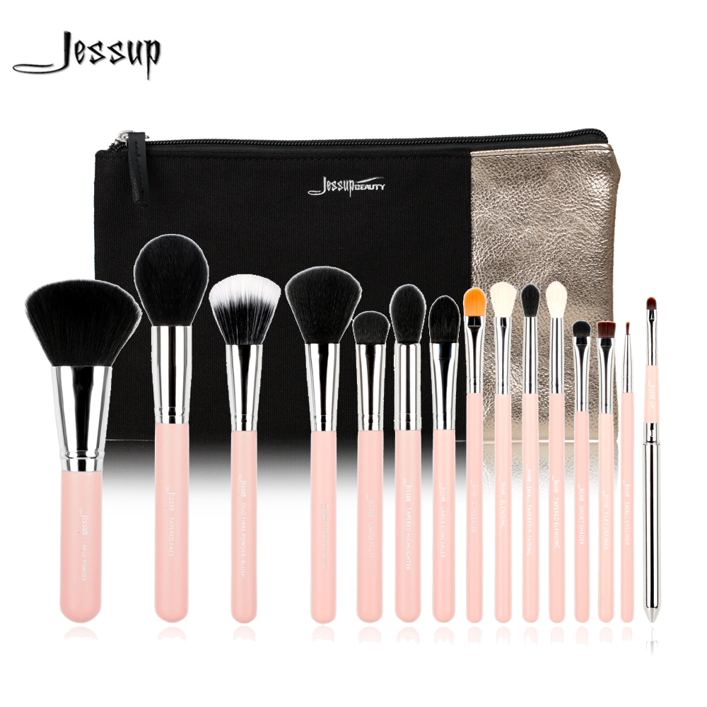 Jessup Brand 15pcs Makeup Brushes Brush Set Beauty Tools Make up Pink/Silver & 1PC Cosmetics Bags Women Bag Powder Eyeliner Lip free shipping 3 pp eyeliner liquid empty pipe pointed thin liquid eyeliner colour makeup tools lfrosted purple