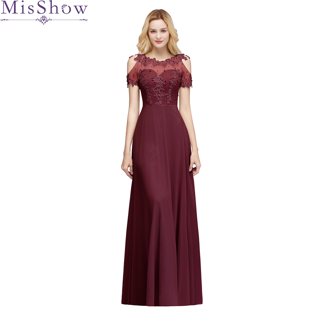 New Arrival Long   Prom     Dresses   Chiffon Sheer Neck Illusion Back Evening Formal Party Gown Beading Women Cold Shoulder   Dress   2019