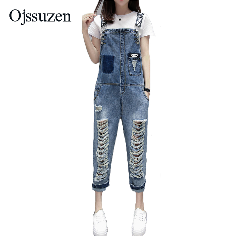 567a00675103 Detail Feedback Questions about Fashion Female Destroyed Jeans Overalls  Letter Ladies Sexy Jeans pants Casual Romper Women Ripped Hole Denim  Jumpsuits ...
