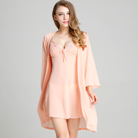 Sale Real Solid Polyester V neck Kimono Summer Women Chiffon Nightgown Sexy Pajamas Imitation Robe Household Robes For