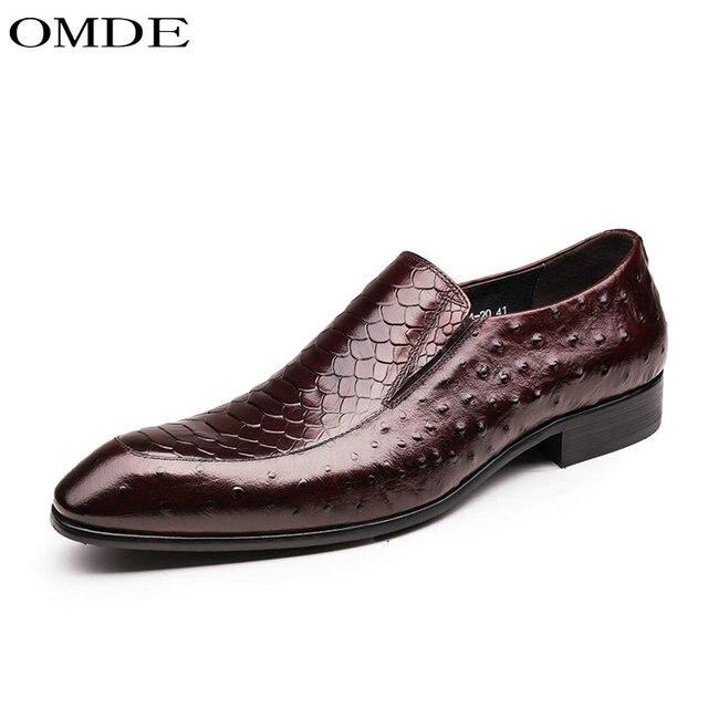 2a4d4834ec8c5 OMDE fashion Italian mens dress shoes slip on Loafers black Wine red designer  male shoes men wedding business office moccasins