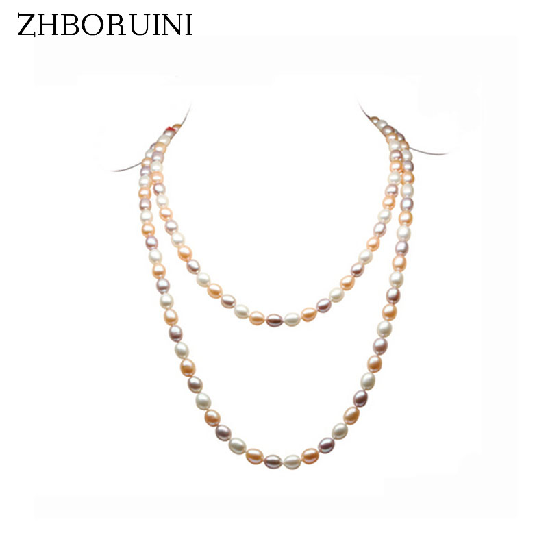 купить ZHBORUINI 2017 Fashion Long Multilayer Pearl Necklace Natural Freshwater Pearl Mix-color Choker Charm Necklace For Women Gift по цене 3139.32 рублей