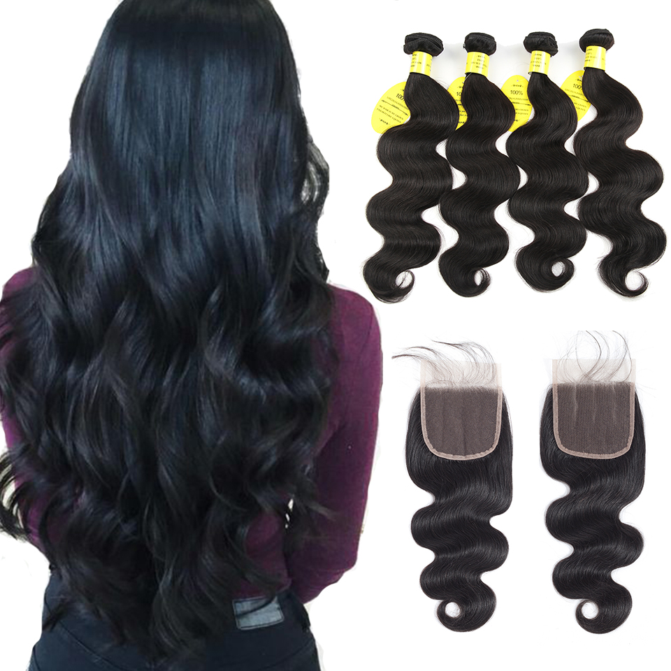 QueenLike Hair Products Brazilian Body Wave With Closure Non Remy Hair Weft Weave 3 / 4 Bundles Human Hair Bundles With Closure