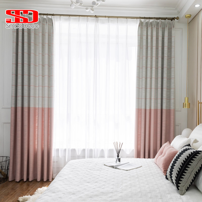 US $7.69 46% OFF|Modern Faux Linen Blackout Curtains for Living Room Pink  Kids Striped Drapes for Bedroom Window Treatments Decoration Panel-in ...