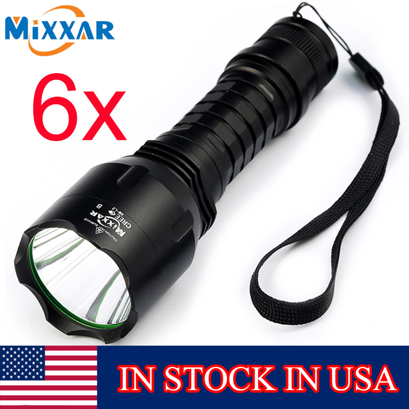 ZK20 mixxar C8 Cree XM-L2 Brightest LED Flashlight Cold White 6500-7000K Portable 6PCS/L ...