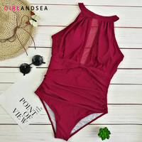 2019 New Arrival One Piece Swimsuit Women Vintage Bathing Suits Plus Size Swimwear Beach Padded Lace Swim Wear Solid Monokinis