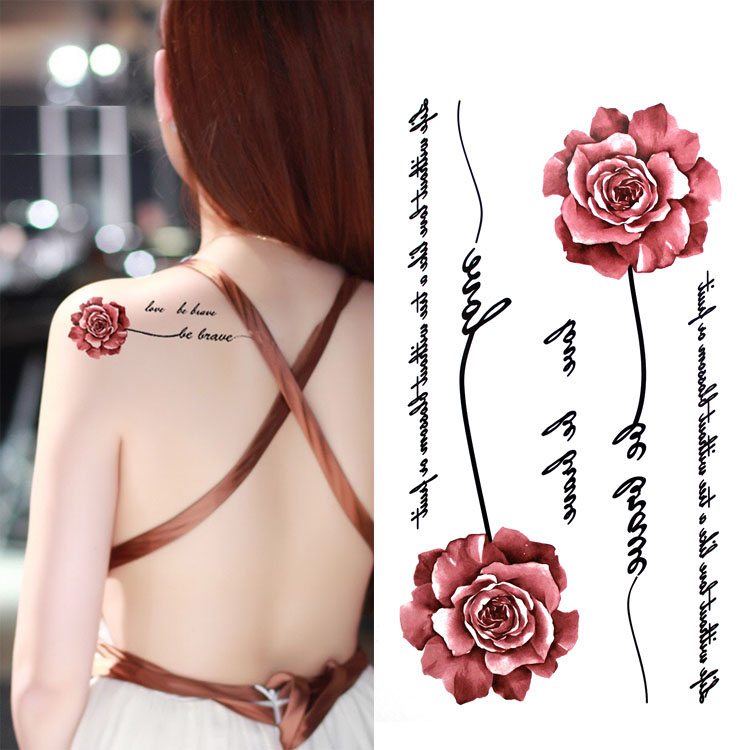 Colorful Beautiful Rose Flower Body Art Waterproof Fake English Letter For Woman Flash TemporaryTattoo Stickers 10*20CM KD1036