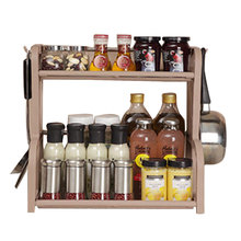 Double-layers Multi-function Shelves Condiment Knife Shelf Kithchen Tools Storge Rack with Hook Up High Quality