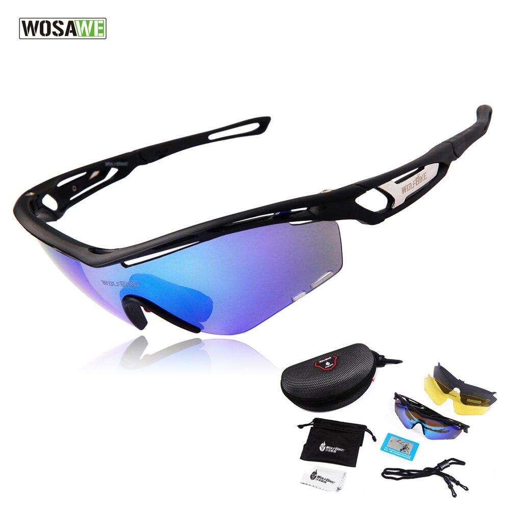 Цена за Wosawe профессиональный поляризованный велоспорт очки велосипед очки спорт на открытом воздухе велосипедов солнцезащитные очки uv 400 с 3 объектив tr90