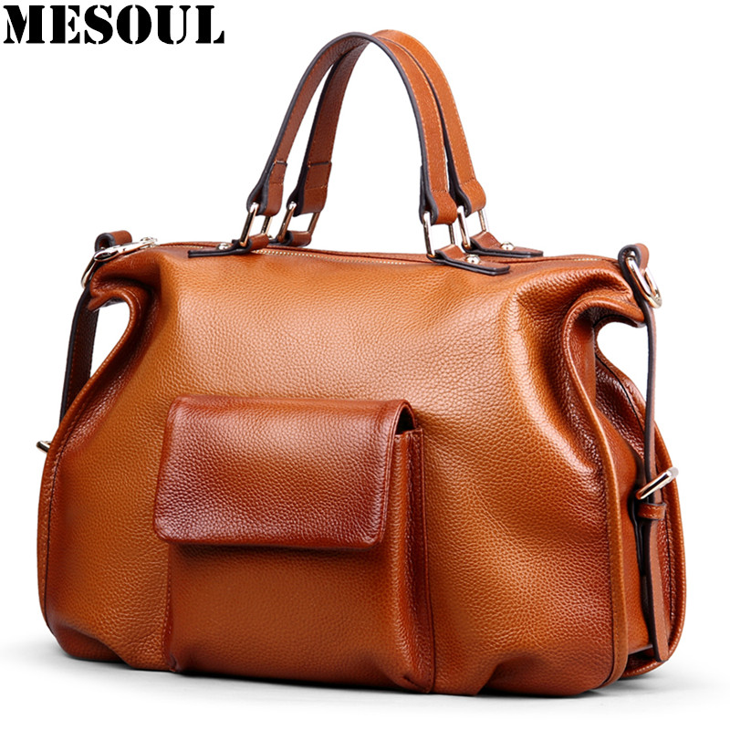 MESOUL Brand Handbags Female Big Pocket Tote Bag Genuine Leather Designer Crossbody Bags Ladies Tote Bag For Women Shoulder Bags brand solid genuine leather women handbags hobo tote bag female tassel big women shoulder bags single ladies crossobdy bag