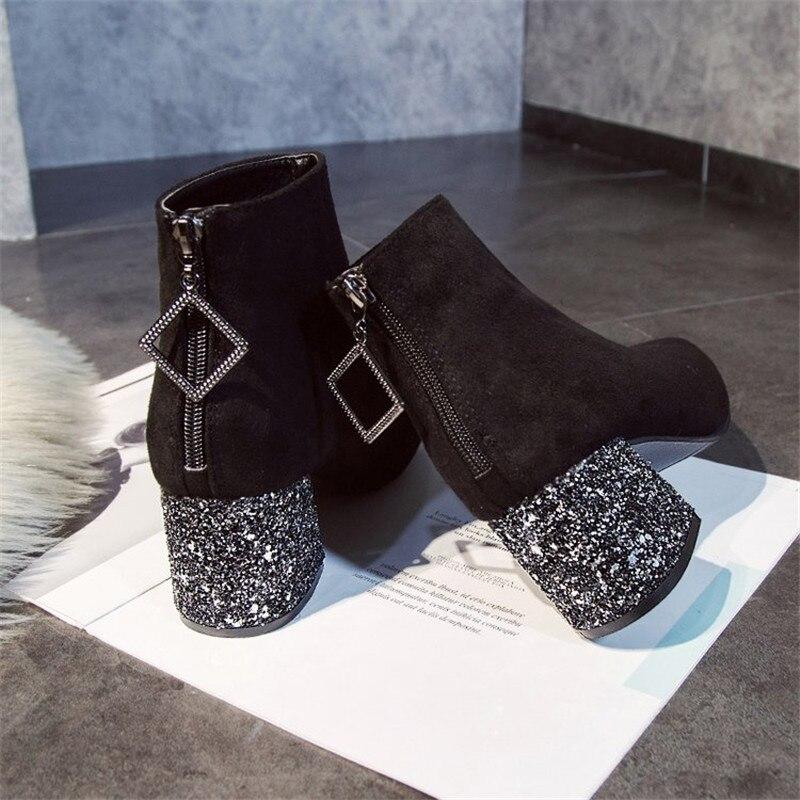Invierno Tobillo Moda Dedo Negro Zapatos Lentejuelas De Del Botas Tacón Cremallera Cuadrado 2019 Pie Mujer Zw5p5qCg