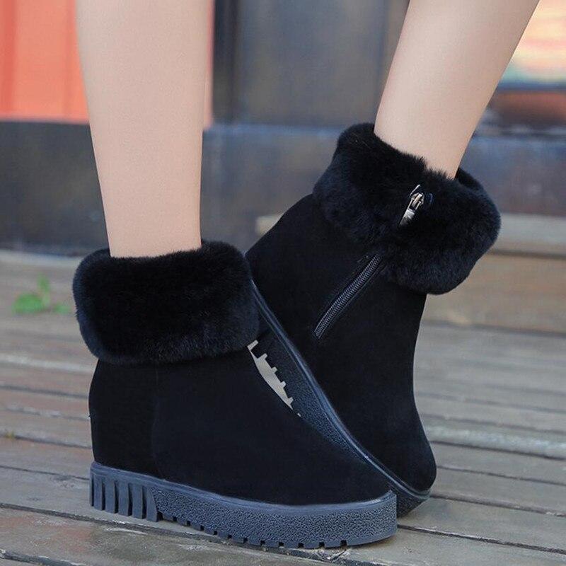 black Chaussures Footwe De Femmes Latérale Tête Ronde Hiver Glissière Neige Augmenter Brown Coton Poilu Bottes Nouvelle Faible Courtes Talon Chaudes HxAaq