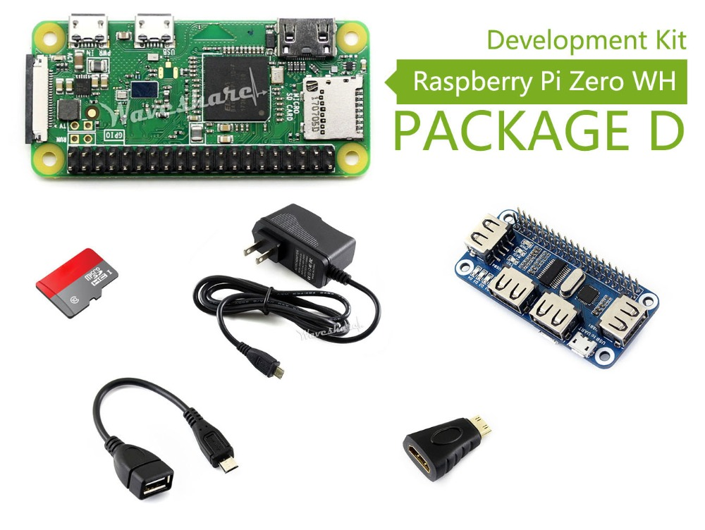 Waveshare Raspberry Pi Zero WH Package D including mini PC Raspberry Pi Zero WH Mini HDMI to HDMI Adapter USB HUB HAT SD Card