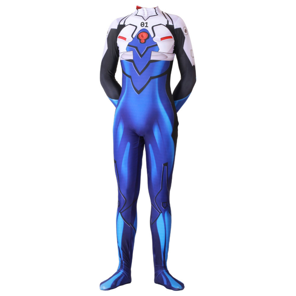 EVA Ikari Shinji Cosplay Costume Zentai Suit Skinny Bodysuit Ikari Shinji jumpsuit Halloween Costumes for Adult