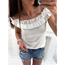Summer new solid off shoulder shirt casual slim blouse Fashion ladies sleeveless ruffles shirt blouse tops clothing