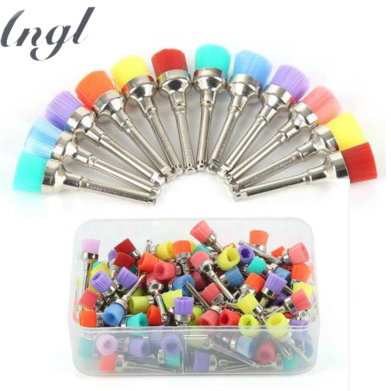 100Pcs/bag Dental Lab Materials Colorful Nylon Latch Small Flat Polishing Polisher Prophy Brushes Dentist Products box