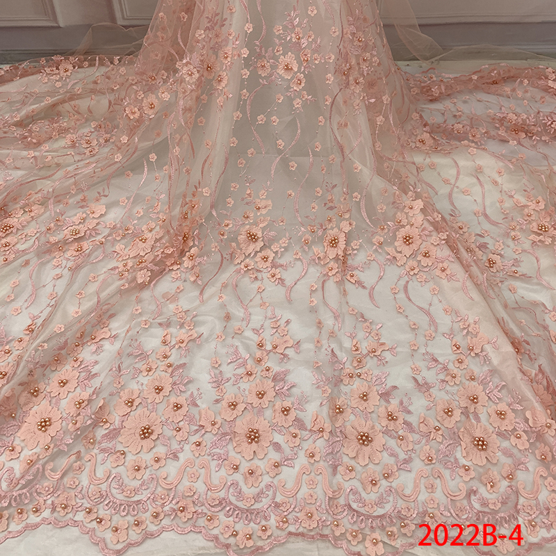 French Laces Fabrics High Quality Tulle French, 3D Applique Flower Lace, Embroidered Nigerian Lace Fabric 5yards KS2022B-4