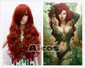 Long Curly BATMAN Poison Ivy Long Wavy Dark Red Heat Resistant Anime Cosplay Wigs