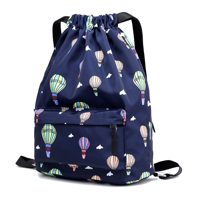 High Quality Drawstring Bags Travel Sports Shoe Dance Bag Unisex Travel Storage Backpack Black Printed Bag