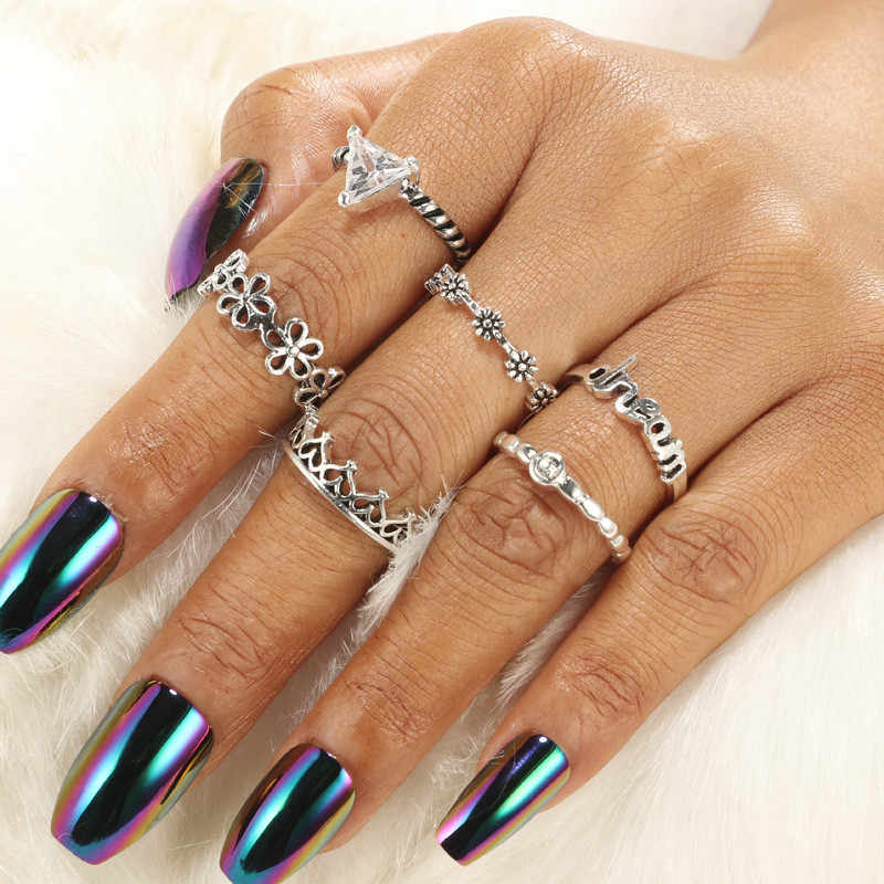 FUNIQUE Boho Винтаж Сердце цветок черепаха опал кулак кольцо наборы для женщин полые Midi палец кольца Богемия камень Мода ювелирные изделия