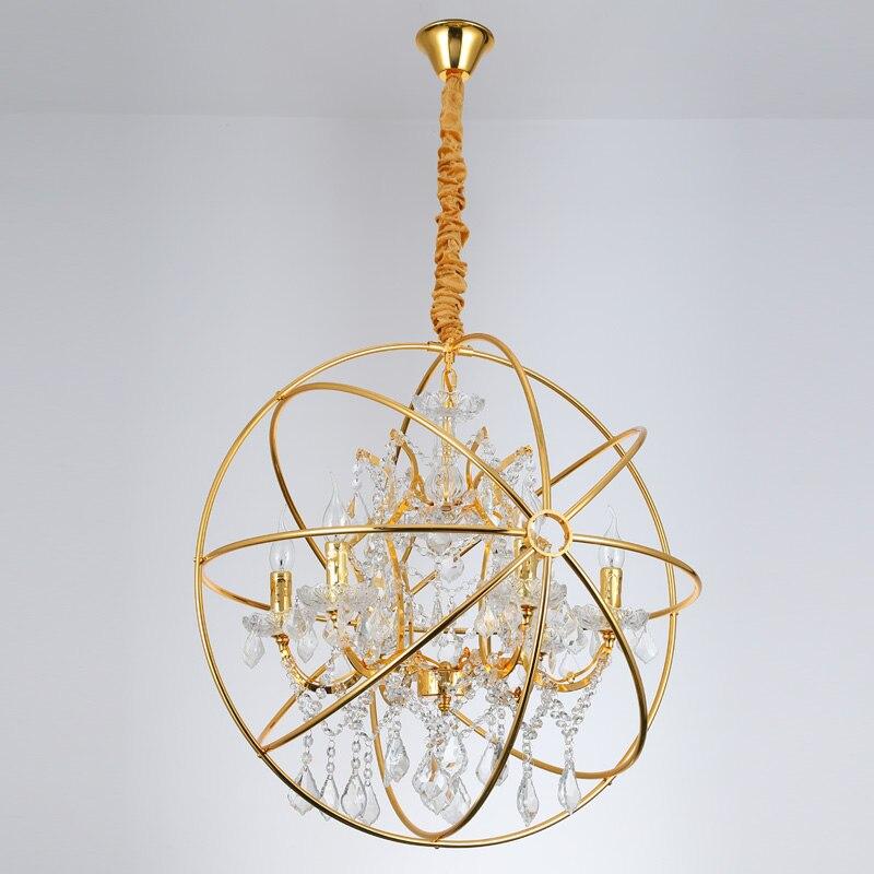 Factory Outlet Vintage Crystal Candle Lighting Rustic Matt: Modern Crystal Orb Gold Pendant Lamp Lighting Vintage LED