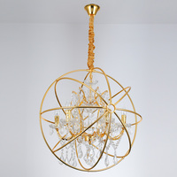 Modern Crystal Orb Gold Pendant Lamp Lighting Vintage LED Pendant Hanging lamp RH Rustic Dinning Candle lamp
