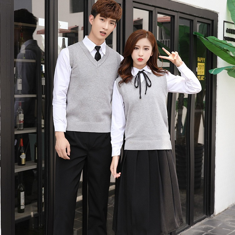 Students Summer Uniform Suit Boy Girls College Wind School Student Uniform British Long-sleeved Cotton Suit 4pcs D-0217