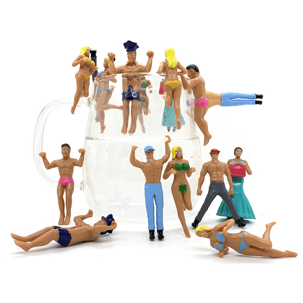 Pvc 6cm Cup Edge Hanging Dolls Bikini Mini Figures Toys Environmentally Friendly Man And Woman Doll Model Collections