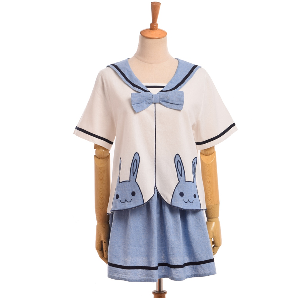Lolita Girl Rabbit Embroidery Sailor Collar Shirt Tops+Skirt Suit Fashion Casual Summer Preppy Dress