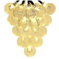 Solar Outdoor String Lights 20ft 30 LED Warm White Crystal Ball Solar Powered Globe Fairy Lights