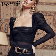 купить lessverge Mesh lace black bodysuit women Long sleeve pleated see through sexy bodysuit femme Slash neck bodycon lady body mujer онлайн