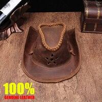 Brand high quality Genuine Leather cowboy hat men/women crazy horse leather manual Leather cap Wear resistan Equestrian sun hat
