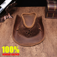 Brand high quality Genuine Leather cowboy hat men/women crazy-horse leather manual cap Wear-resistan Equestrian sun