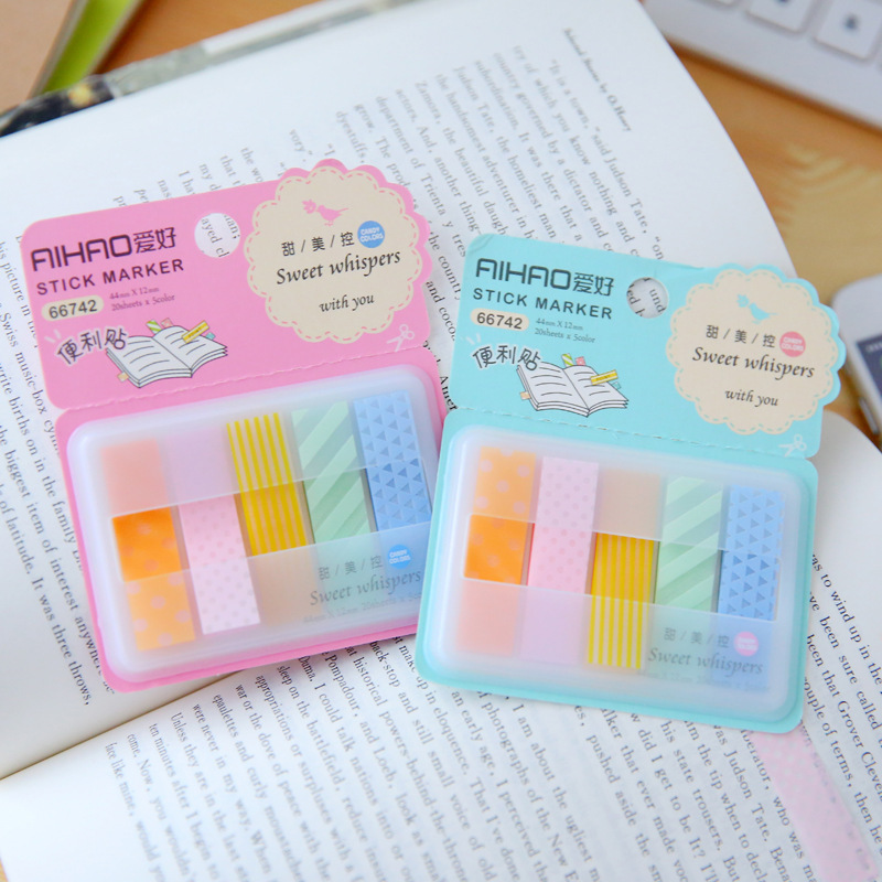 Aihao Quality Cute Kawaii Candy Colored Stick Markers Book Page Index Flag Sticky Notes Office School Supplies