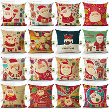 Home Decorative Throw Pillowcase Merry Christmas Cartoon Cotton Linen Cushion Cover Santa Claus Pillowcase For Child Gift