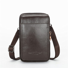 YIANG Mens Genuine Leather Single Crossbody Bags Business Casual Messenger Travel Bag Waist Packs Male Shoulder Black Brown