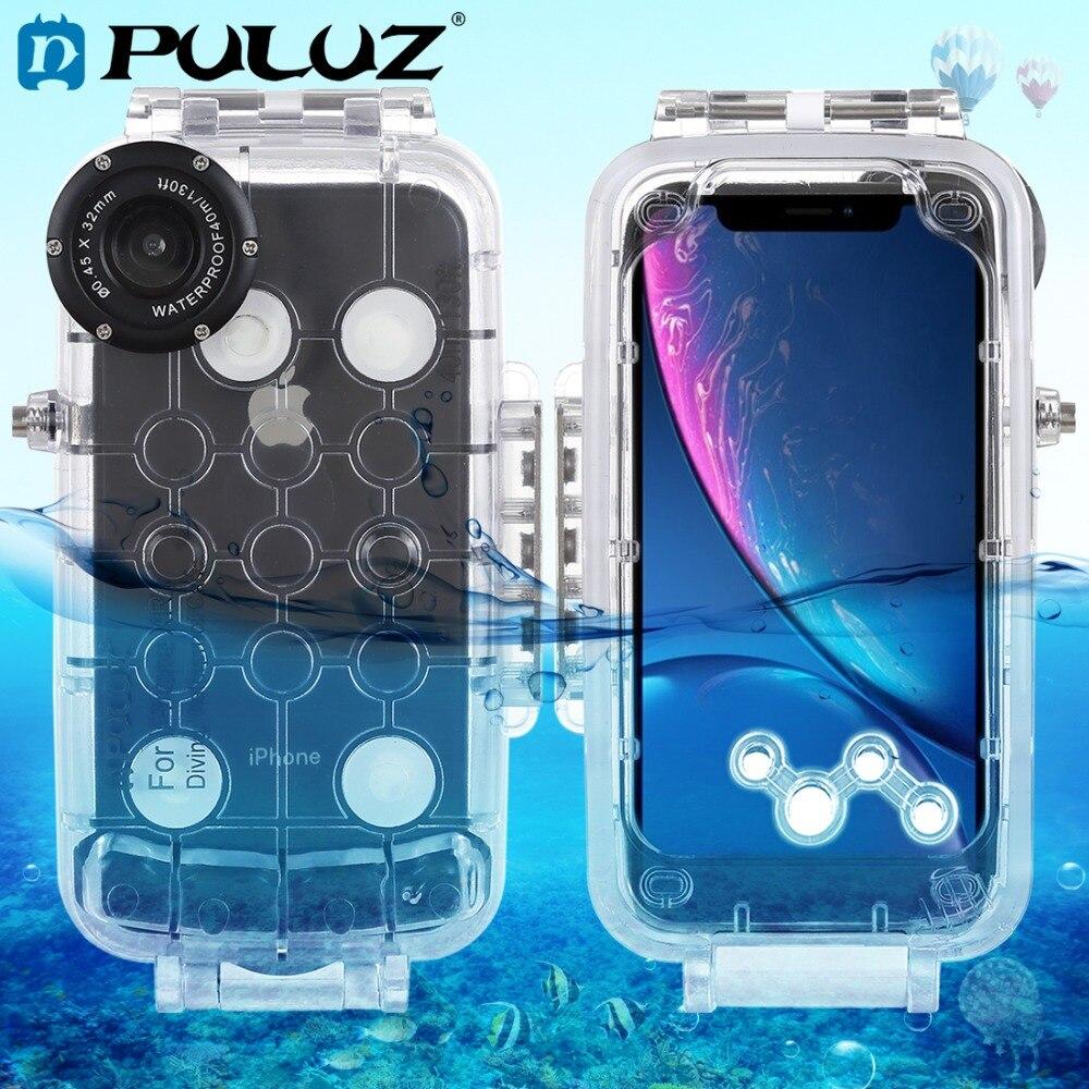 PULUZ pour iPhone XS Max/XR boîtier sous-marin 40 m/130ft plongée téléphone étui de protection surf natation plongée en apnée Photo vidéo