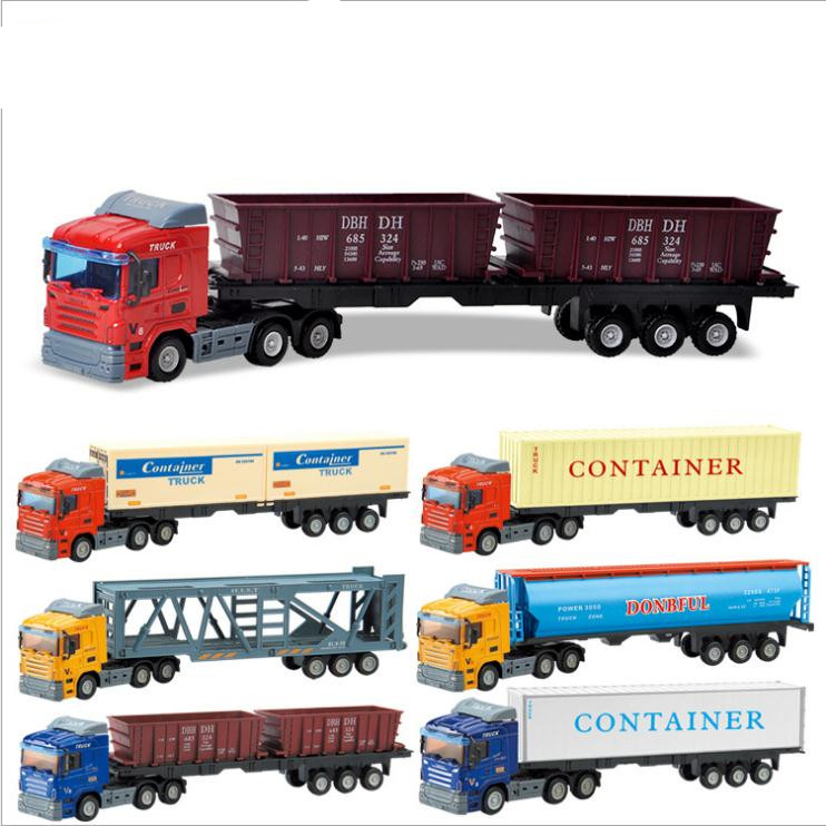 1:48 Scale Alloy Construction Vehicle Model,high Simulation Container Truck,diecast Metal Model Toy, Free Shipping