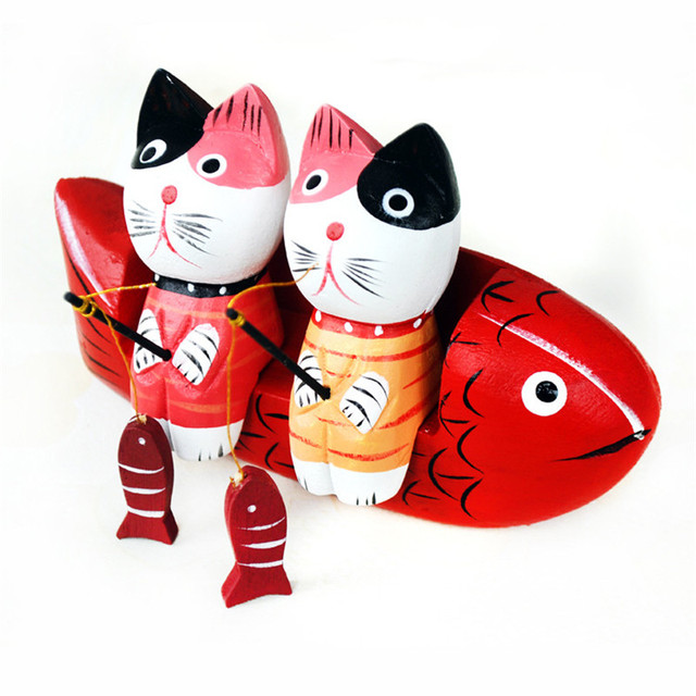 Wooden Fishing Cats Figurine Set