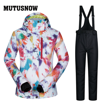 Ski Suit Women Winter MUTUSNOW Waterproof Sportwear Female Skiwear Snow Jacket and Pants Set Brands Winter Snowboarding Suits dropshipping waterproof sportwear female ski suit women winter ski wear hooded jacket strap pants snow jacket and pants