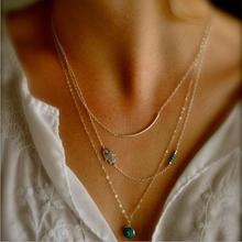 Tomtosh Hot Fashion Long Pendant Necklaces Gold  Fatima Hand &Evil Eye 3 Layer Chain Necklace multilayer Necklaces