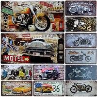 ホットオートバイ車メタルナンバープレートヴィンテージ家の装飾ティンサインバーのパブガレージ装飾金属絵画プラーク