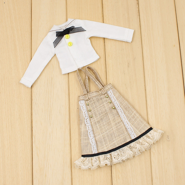 Neo Blythe Doll Strap Overalls Shirt With Bow