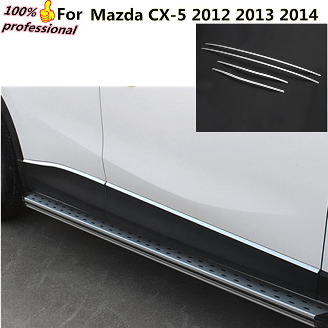 Car Cover Detector Stainless Steel Side Bottom Door Body Trim Stick Strip  Lamp Molding 4pcs For