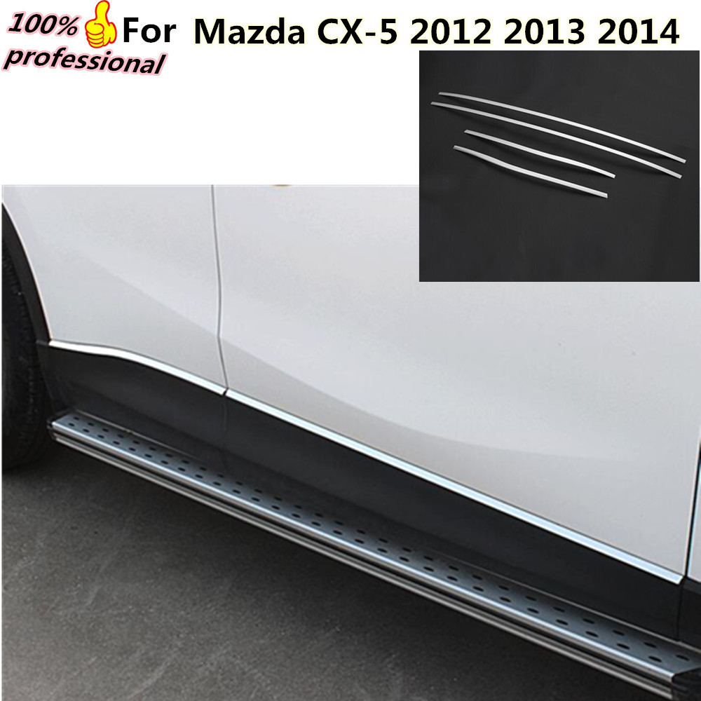 car cover detector stainless steel Side bottom Door Body trim stick Strip lamp Molding 4pcs for Mazda CX-5 CX5 2012 2013 2014