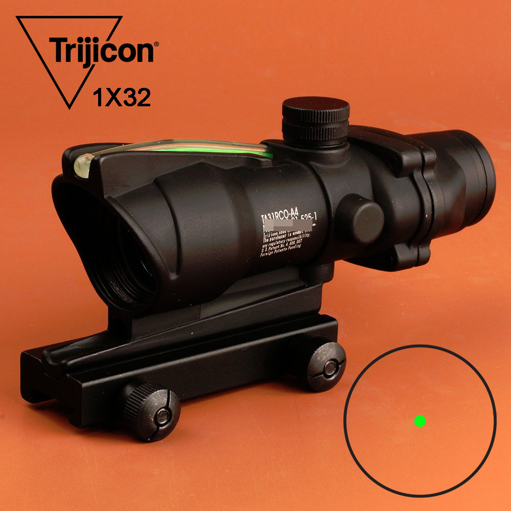 Hunting Scope ACOG Style 1X32 Tactical Red Dot Sight Real Green Fiber Optic Riflescope with Picatinny Rail for M16 Rifle Airsoft