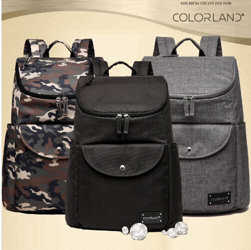 ФОТО COLORLAND Camouflage ackpack Diaper Bag dad mom New Design Nappy Bag Durable Baby Bags For Stroller Baby Changing Bag mat set