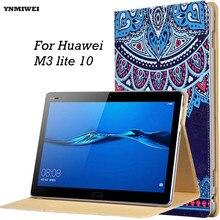 M3 Caja de La tableta De Huawei MediaPad 10 Lite Ultra Delgada Inteligente Casos de la cubierta Para Media pad M3 Lite 10.1 BAH-W09 BAH-AL00 + Películas
