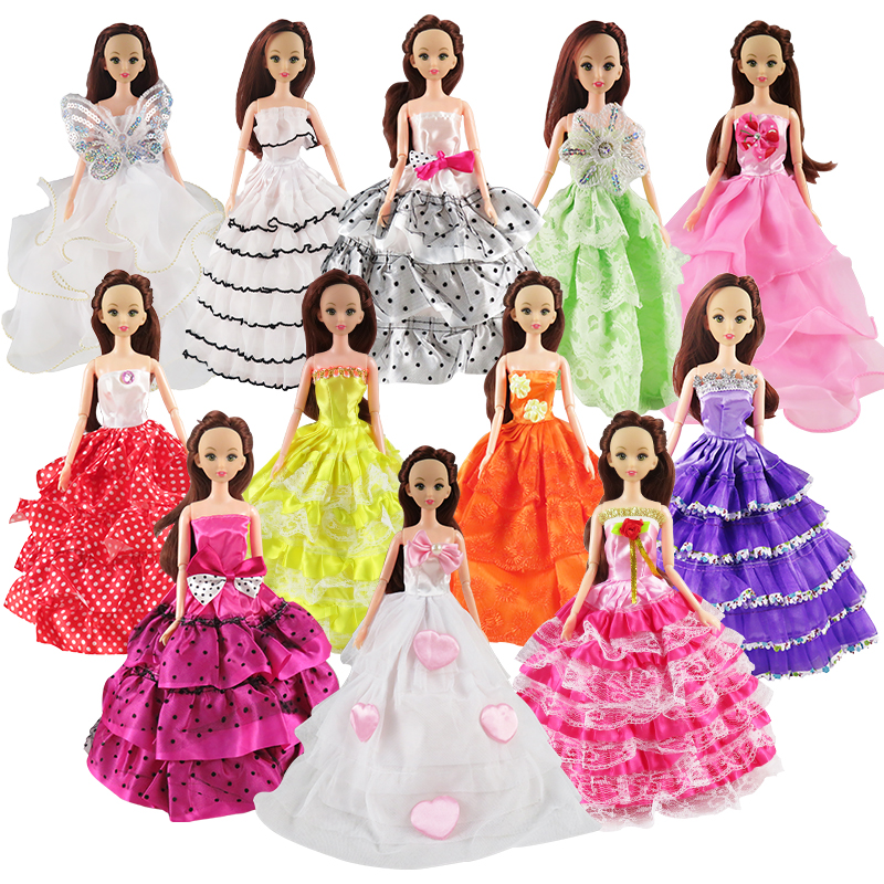 Random 5 pcs Mixed Style Wedding Princess Dresses Colorful Barbie Clothes For Barbie Doll Accessories Toy in A Gift random 12 pcs mixed sorts barbie doll fashion clothes beautiful handmade doll party dress for barbie dolls girl gift kid s toy